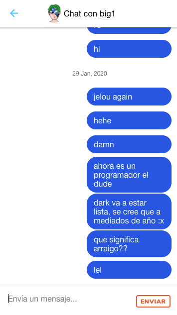 Chat example based on a dribbble design and FB messenger